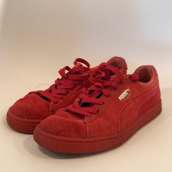Puma Shoes   Womens Red Suede Sneakers